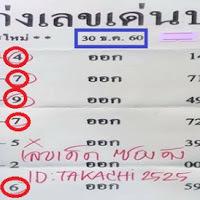 ผลงาน 7 งวดเข้า 6 งวด หวยซอง เก่งเลขเด่นบน สูตรใหม่ งวดวันที่ 30/12/60
