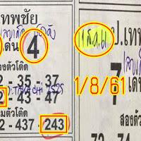 น่าติดตามมาก ผลงานดีงวดที่ผ่านมาเข้าบน หวยซองป.เทพชัย 3 ตัว 2 ตัวบน-โต๊ด งวดวันที่ 1/08/61
