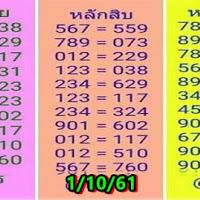 ผลงานดี หวย @ทินกร เด่นหลักร้อย สิบ หน่วย งวดวันที่ 1/10/61