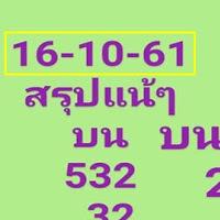 อย่าลืมจัด หวยสรุปแน้ๆ สองสามตัวบน-ล่าง งวดวันที่ 16/10/61