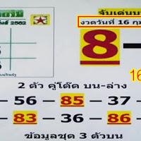 หวยไทยรัฐ ฉบับแปลจับคู่บน-ล่าง งวดวันที่ 16/2/62