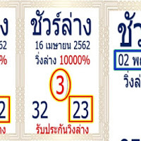 เลขเด็ดผลงานดี เข้ามาแล้ว 3 งวดซ้อน! หวยชัวร์ล่าง งวดวันที่ 02/05/62