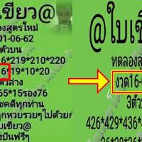 เลขเด็ด @ใบเขียว@ สามตัวบน สองตัวล่าง งวดวันที่ 16/6/62 ผลงานเข้าบน 16